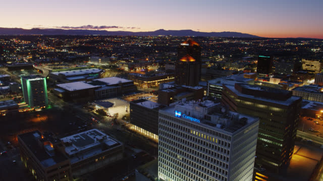 office buildings and civic plaza in downtown albuquerque - albuquerque new mexico stock videos & royalty-free footage