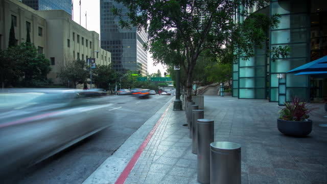 Office Buildings and Library in Los Angeles Financial District - Time Lapse