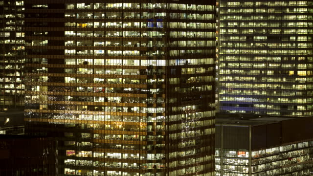 CU of office buildings at nightfall, Canary Wharf