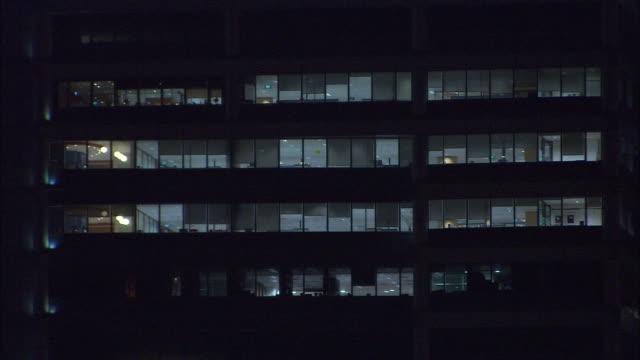 CU, PAN, Office buildings illuminated at night, Singapore
