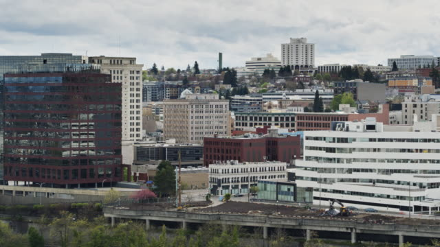 office buildings in downtown tacoma - drone shot - pierce county washington state stock videos & royalty-free footage