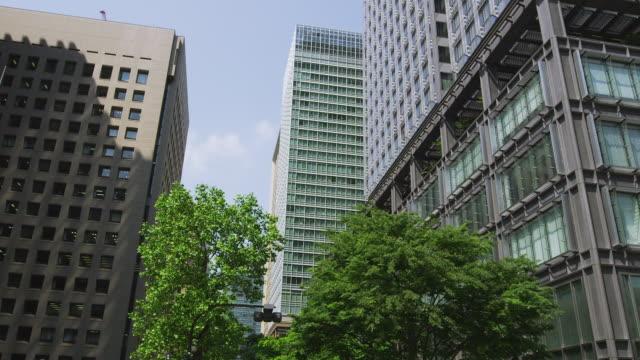 office buildings in marunouchi, tokyo, japan - marunouchi stock videos & royalty-free footage