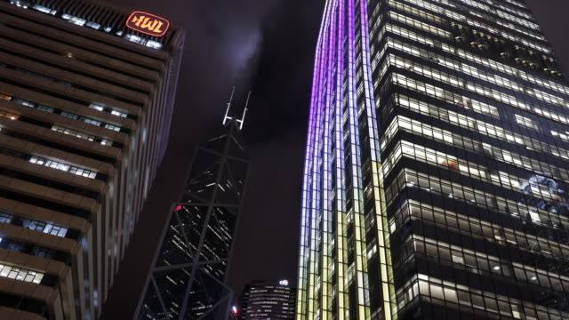 office buildings in the financial central district illuminated at night, central, hong kong island, hong kong, china, time-lapse - hong kong island stock videos & royalty-free footage