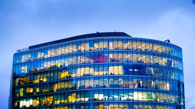 office business building in london, england - timelapse - office block exterior stock videos & royalty-free footage