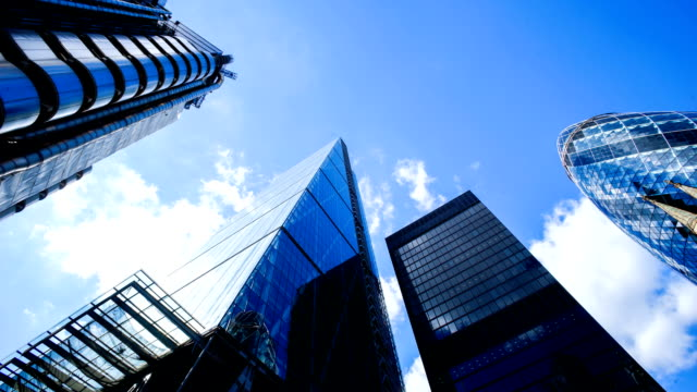 office business building in london, england - timelapse - canary wharf stock videos & royalty-free footage