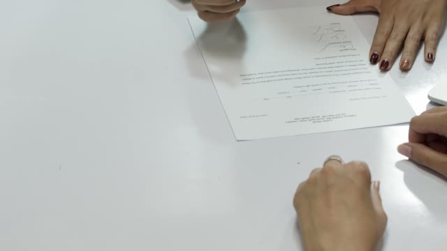 office close up hands of business woman signing contract as new job recruitment - cv stock videos & royalty-free footage