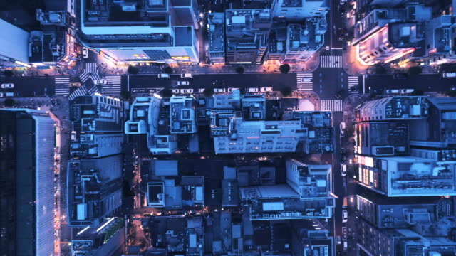 office district at night - overhead view stock videos & royalty-free footage