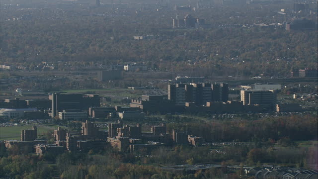 aerial office or university buildings in suburbs / buffalo, new york, united states - buffalo new york state stock videos & royalty-free footage