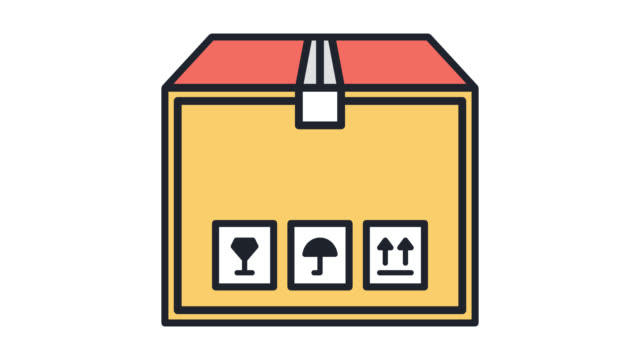 vídeos de stock, filmes e b-roll de animação de ícones de escritório deslocalização linha plana com alfa - arte linear