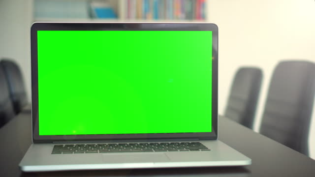 office shot of green screened laptop screen on desk,dolly shot - desktop pc stock videos & royalty-free footage