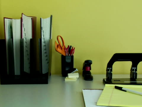 ms, office supplies on desk - pen holder stock videos & royalty-free footage