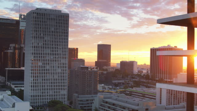 la office towers at dusk - drone shot - tower stock videos & royalty-free footage