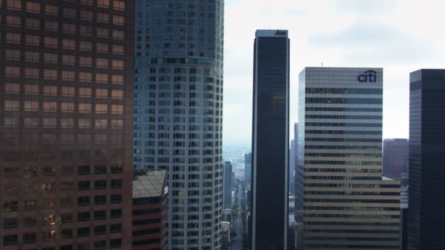 dtla office towers - drone view - us bank tower stock videos and b-roll footage