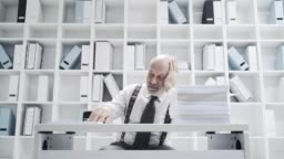Office worker doing a boring repetitive job