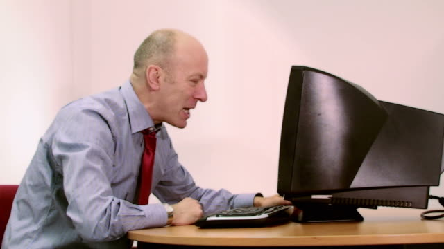 office worker loses it with computer - anxiety stock videos and b-roll footage
