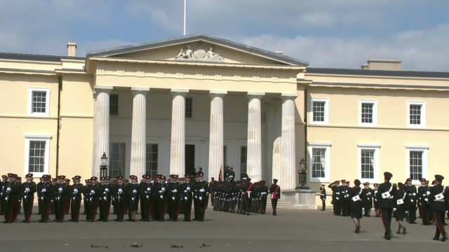 200 officer cadets at Sandhurst mark milestone in military careers ENGLAND Berkshire Sandhurst RMA Sandhurst EXT **Parade band playing SOT** General...