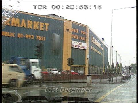 missing gulf war documents int/december 1990 england gv view thru car windscreen as car along london a40 towards car supermarket where tx 24691 acton... - gulf war 1990 91 stock videos & royalty-free footage