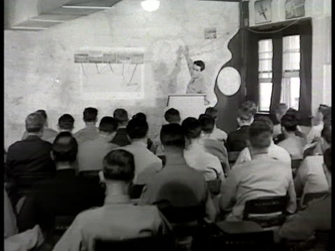 officer walking into briefing building colonel david schilling standing in front of seated class going over map sot talking about weather setting 'in... - 1948 stock videos & royalty-free footage