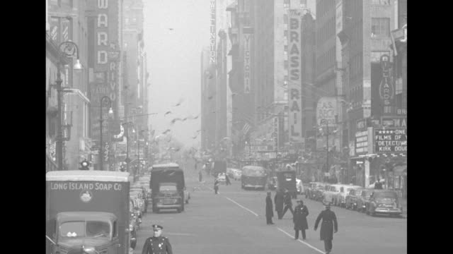 nypd officers and civil defense workers stand on empty street as civil defense drill continues in times square vo air raid siren police truck stands... - air raid siren stock videos & royalty-free footage