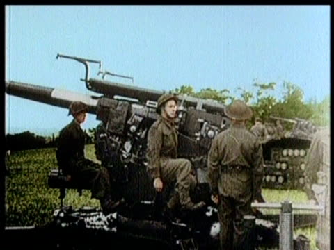 officers inspect antiaircraft weaponry / queen elizabeth the queen mother meets citizens / - colour image stock videos & royalty-free footage