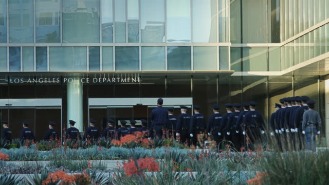 lapd officers marching out - los angeles police department stock videos & royalty-free footage