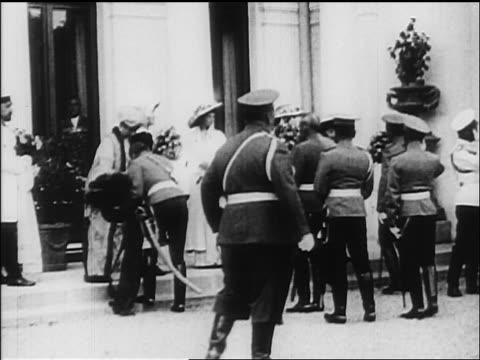 b/w 1918 officers presenting flowers to family of czar nicholas ii / documentary - 1918 stock videos and b-roll footage