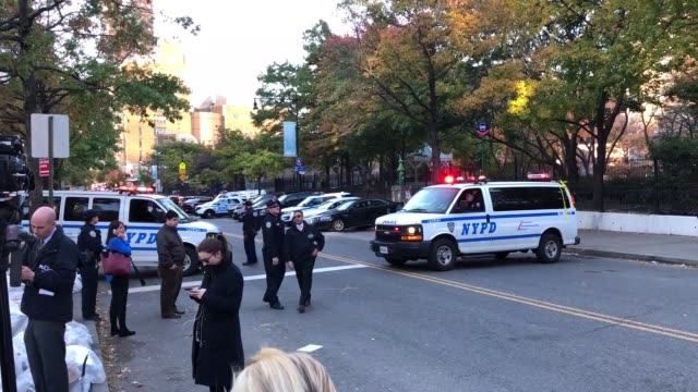NYPD officers respond after reports of multiple people hit by a truck after it plowed through a bike path in lower Manhattan on October 31 2017 in...