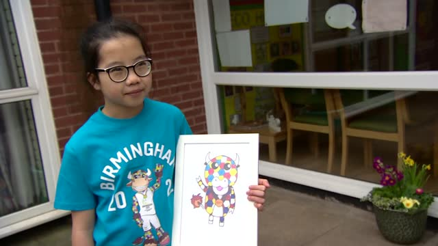 official mascot for birmingham 2022 commonwealth games created by 10-year-old girl; england: ext emma lou interview sot. - commonwealth games stock videos & royalty-free footage