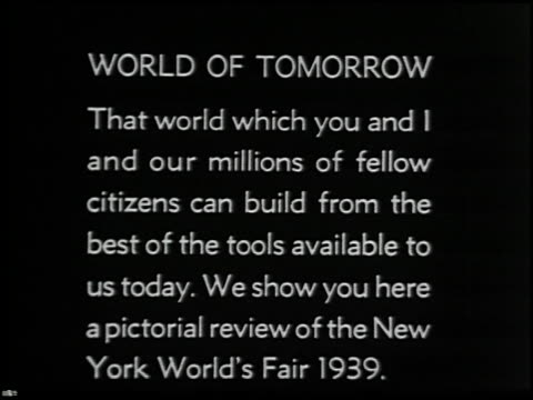 vídeos de stock e filmes b-roll de official motion pictures of the new york world's fair 1939 - 1 of 16 - 1939
