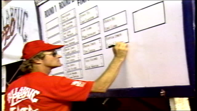 official writing in names on competition board in pupukea hawaii - contestant stock videos & royalty-free footage