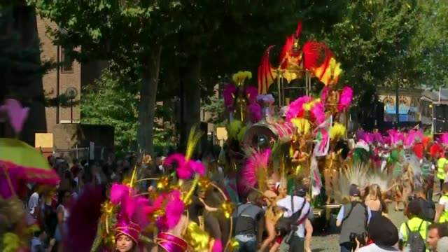 officially hottest late august bank holiday ever recorded england london ext drummers playing and along at notting hill carnival sot elaborate... - flotilla stock videos & royalty-free footage