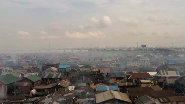 officially the floating lagos slum of makoko does not exist - slum stock videos & royalty-free footage