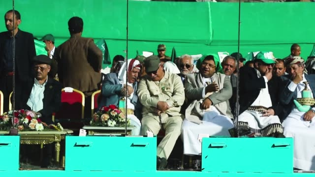officials and army generals celebrate the birthday of the islam's prophet muhammad on november 20 2018 in sana'a yemen - muhammad prophet stock videos & royalty-free footage