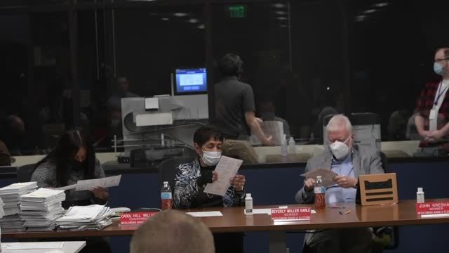 officials count ballots of 2020 united states presidential election at the mecklenburg county board of elections office in charlotte, north carolina,... - united states presidential election stock videos & royalty-free footage