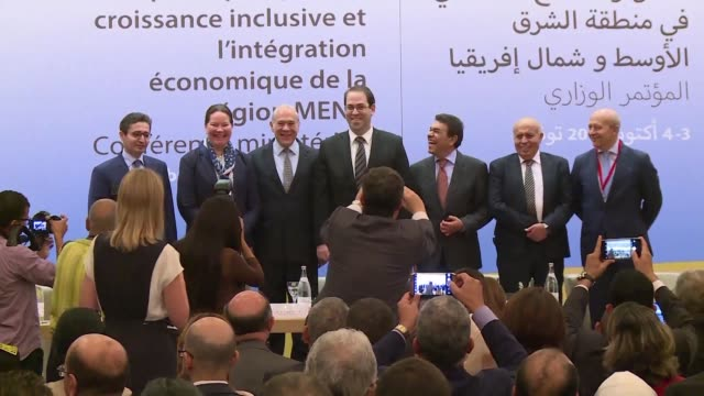 vídeos de stock e filmes b-roll de officials from the middle east and north africa and the oecd ended their meeting in tunis on tuesday after they asked countries in the region to... - organização para a cooperação e o desenvolvimento económico