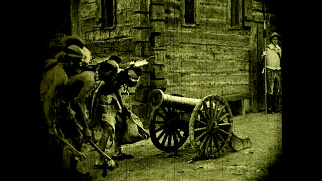 officials order guards to let the native americans inside the colony, 17th century,; native americans inspect cannon while passing by. historical... - 17th century stock videos & royalty-free footage