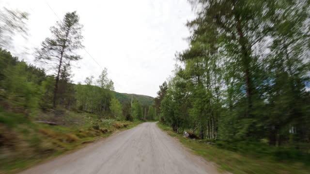 vidéos et rushes de 4wd hors route voiture point de vue: dans une forêt en norvège - caméscope