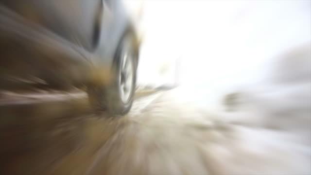 pov off-road vehicle driving on snow slush road - slush stock videos and b-roll footage