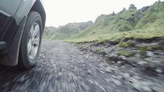 Off-road vehicle driving through Icelandic landscape