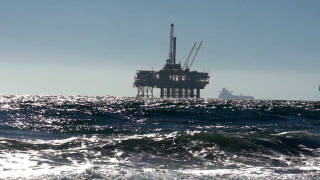offshore fracking drilling rig in the pacific ocean - crude oil stock videos & royalty-free footage