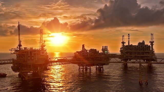 offshore living quarter with calm sea - drilling rig stock videos and b-roll footage