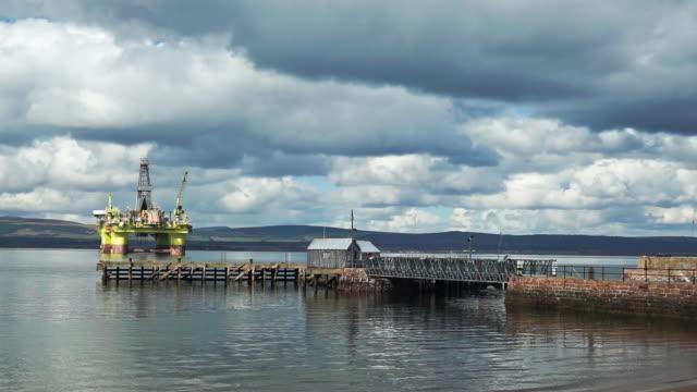 offshore oil platform coslpioneer near cromarty ferry terminal - ross sea stock videos & royalty-free footage