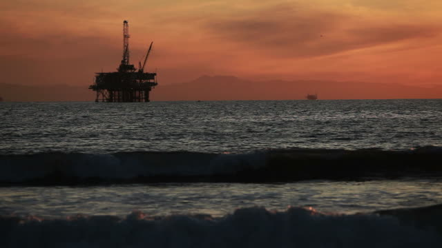 Off-shore Oil Rig at Sunset