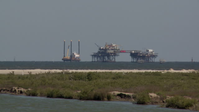 Offshore oil rigs off the coast of Louisiana.
