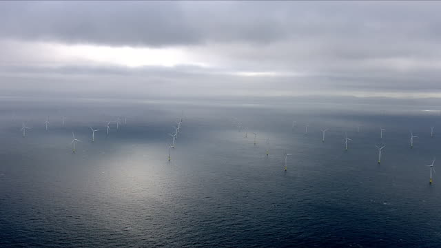 offshore wind farm and wind turbines - wind power stock videos & royalty-free footage