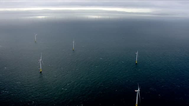offshore wind farm and wind turbines - uk stock videos & royalty-free footage