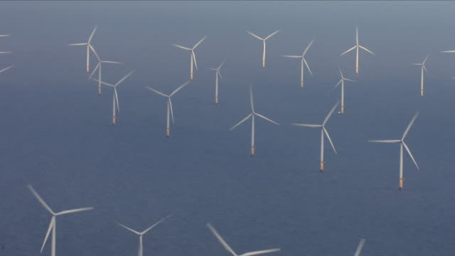 vídeos de stock e filmes b-roll de offshore wind farm - sustainable resources