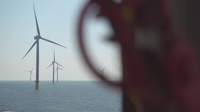 """offshore wind farm viewed from boat - """"bbc universal"""" stock videos & royalty-free footage"""