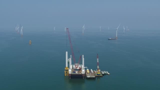 offshore wind turbine plant (test-bed) / gochang-gun, jeollabuk-do, south korea - crane stock videos & royalty-free footage