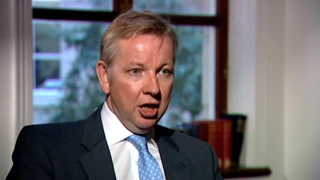 ofqual to 'look closely' at gcse english grades after concerns over unfair treatment lib tx int michael gove mp interview sot we've put absolutely no... - 一般教育証明試験点の映像素材/bロール